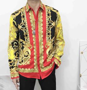 Новые товары Flower Мужская Повседневная рубашка 2020 Цвет печати Тонкий Medusa шелковая рубашка Длинные Азиатский Код Бесплатная доставка втулки