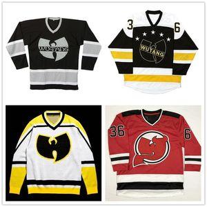 Custom Wu Tang Clan-Hockey-Jersey-C. R. E. A. M.-CREME 36 Kammern X New YORK RANGERS X Devils X APPLEBUM Genäht