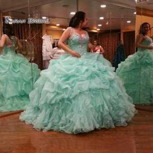 Elegant Mint Green Ball Gown Girls Quinceanera Dresses Puffy Organza Corset Back Crystals 2020 Plus Size Vestidos De 15 Anos Debutante Gowns