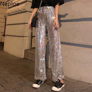 Calças Neploe Sequins Blingbling lazer longo 2020 Primavera estiramento cintura alta Mulheres Calças coreano Brilhante calças perna larga 58651