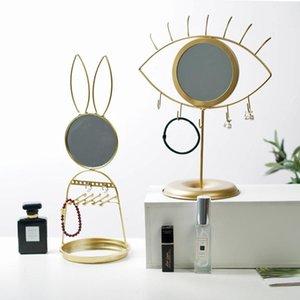Tablo Yaratıcı Takı Depolama Raf Makyaj Aracı Ayna Giyinme Çok fonksiyonlu Metal Masaüstü Ayna Göz Desen Ayrılabilir Banyo