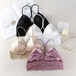 Camisole Solid Color Thin Shoulder Strap Padded Bra Summer New Beauty Back Lace Tube Top new
