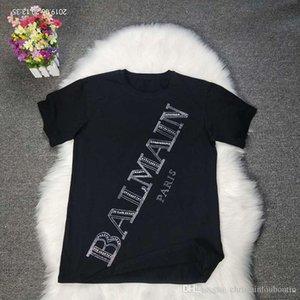 Diseñador nuevo BALMAIN roca camiseta de las mujeres de la estrella Balmain perforación en caliente corta sleeveill imprimir Discoteca camiseta ocasional