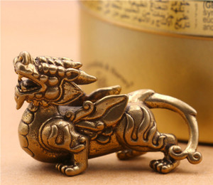 2pcs Pure Solid Brass Enamel Ornaments Lucky Unicorn Ornaments Leather Craft Buckle for Making Bags