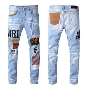2020Top manera de la venta del diseño de marca hombres del verano dril de algodón flaco Jean motorista del bordado pantalones vaqueros agujeros de botón para hombre pantalones largos A39