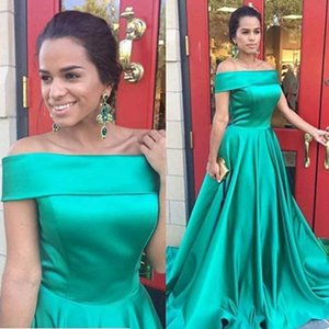Green Satin Prom Dresses Off Shoulder Formal Party Party Gowns A Line Sweep Train Evening Dress Vestidos De Soiree