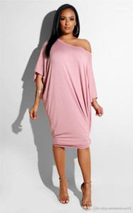 Yaz Giydirme Plus Size Casual Bayan Giyim Tasarımcı Katı Kadın Uzun Elbise Moda Eğimli Omuz Gevşek