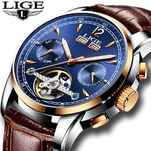 Relogio Masculino Mens Watches Top Brand Luxruy Lige Automatic Watch Men Waterproof Sport Clock Man Leather Business Wrist Watch J190614