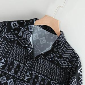 Männer Sommer-Blatt-Druck Hawaiihemd Modische Revers Kurzarmhemd Top Bluse Blusa Masculina Camicia Uomo #W