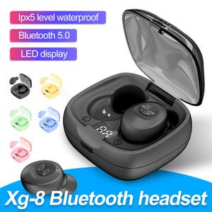 XG-8 TWS auricolare stereo Bluetooth display Bass suono LED del caricatore senza fili auricolari a mano libera di colore della caramella cuffie di sport con la scatola al minuto