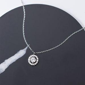 Moda genuína 925 prata esterlina redonda cz design longo cadeia pingente colar elegante branco ródio chapeado jóias para meninas presentes