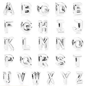 정통 925 스털링 실버 구슬 매력 부드러운 알파벳 A-Z (26) 편지와 크리스탈 비즈 맞춤 브랜드 매력 팔찌 팔찌 DIY의 보석 만들기
