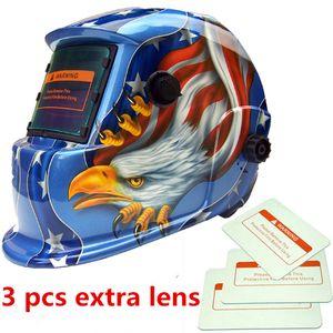1 pc Capacete de Soldagem Capacete Máscara de Solda Escurecimento Solar Auto + Tampa Da Lente 3 pcs Lente Águia Soldagem De Solda Supplie