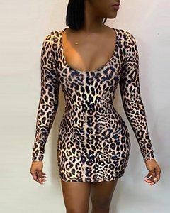Designer leopardo donne sexy abiti casual Back Up Lace Womens vestiti dalla matita Hollow Vestito per femmine