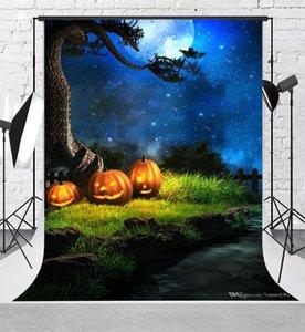 Background Kate Halloween Fotografia Backdrops fogo abóbora Blue Sky Noite Backdrops de algodão sem costura Photo Studio Props Background