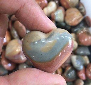 2pcs natural del océano piedra en bruto corazón colgante de piedra con forma de corazón pictograma Marinos Jasper colgante de cristal ásperas piedras