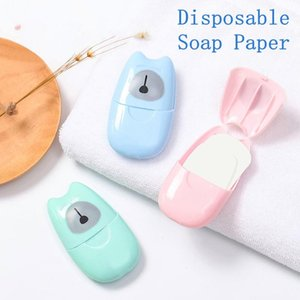 50 pc / set monouso Boxed Sapone Carta Aromaterapia portatile lavaggio a mano Bath Travel Mini Soap Box Soap Base Accessori Bagno HY6024