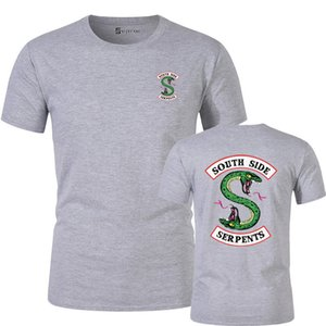 Mr.Q Özel Riverdale Güney Yan Yılan T Shirt Erkekler Yuvarlak Yaka Siyah tişörtler Riverdale Giyim Günlük Moda Giyim