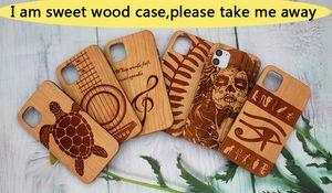 Top Quality Cherry incisione per Iphone 11 Caso di legno pro iphone 11 / X / XR / XS Max / 8 più di lusso durevole del telefono in legno di copertura Samsung S10 note10