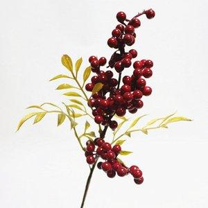6pcs Berry Branches Simulation Fleurs haricots Branche de Noël Baies de bricolage Décor de mariage Décoration Faux plante