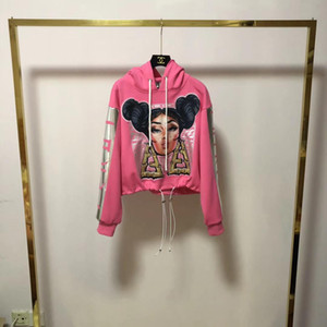 19FW Yeni lüks markalar Nicki Minaj Baskılar On Bayanlar Kadınlar Açık Streetwear Kazak Hoodies kazak süveter embroiderd Fend tasarım