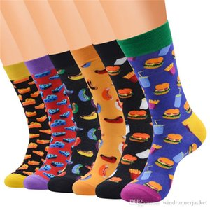 New Arrival Mens Designer Socks Fashion Casual Cartoon Food Printed Contrast Color High Tube Socks Breathable Socks