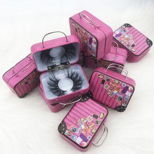 ambalaj için yeni tasarım 3D / 5D / 6D vizon kirpik ambalaj durumda küçük bavul, bavul bavul paket kutu bavul Lashes paket