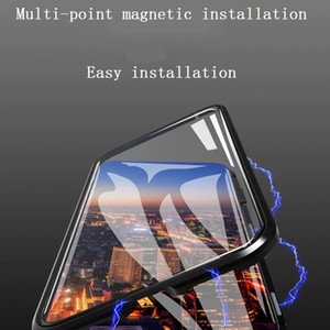 Para iphone xs max phone case Segunda generación de vidrio de doble cara con carcasa de metal con marco de metal magnético Soporte 2PCS entrega / venta al por mayor