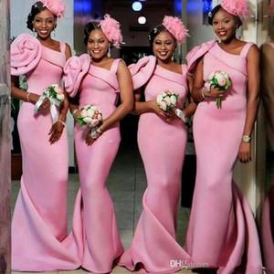 Elegant African Pink Mermaid Long Bridesmaid Dresses One Shoulder Handmade Flowers Sweep Train Bridesmaid Gowns vestido madrinha