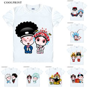 Beijing Opera Male Roles Female Painted Faces Chou Anime Cosplay Custom Shirt Tank Top Short Sleeves Vintage Printed Fashion