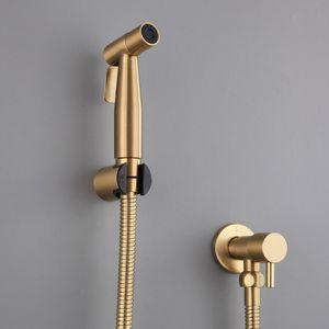 Antikes gebürstetes Gold DOUCHE Kit Hand Held Bidet Sprayer Edelstahl Toilette Bidet Wasserhahn Shattaf Ventil Jet Set Duschkopf Y200321