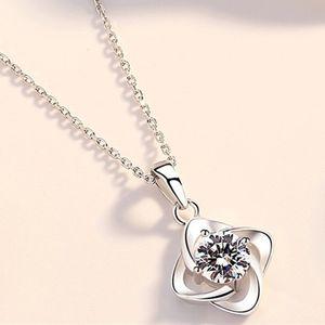 Quatre feuilles collier en argent couleur plante pendentif collier chaîne de la clavicule bijoux de corps colliers exquis cadeaux romantique