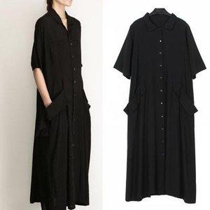 bez Chicever 2019 Zarif Siyah Kadın Yaz Elbise Gömlek Kısa Kollu Gevşek büyük beden Cep Kadın Elbise Giyim Moda Günlük