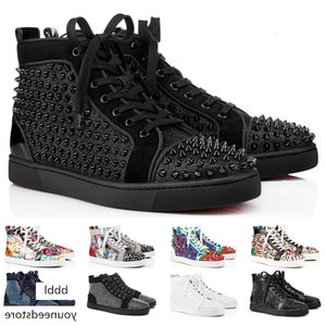 2019 Designer Sneakers Red Bottom shoe Low Cut Studded Spikes Luxury Shoes For Men and Women Shoes Party Wedding crystal Leather Sneakers