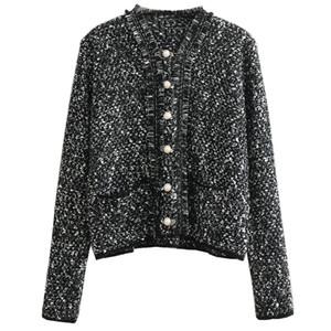 Apring / осень Дизайнер женщин вязаная куртка Тонкий Верхняя одежда Роскошный свитер Pearl Кнопка кисточкой Кардиган Runway High End