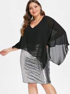 Wipalo Plus Size Chiffon Overlay Sexy Sequined Overlay Capelet Dress V-neck Women Bodycon Party Dresses Vestidos Robe Femme Y190425