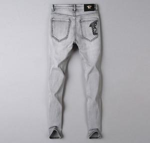 Горячие 2020 новые мужские проблемные рваные байкерские мужские Роскошные дизайнерские джинсы Slim Fit мотоцикл байкер деним для мужчин S Black pour hommes