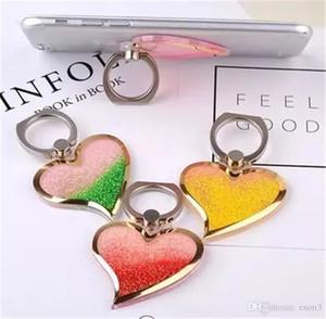 Rotation 360 Grip Finger Liquid Glitter Bling Love Heart Téléphone Anneau Holder support pour Samsung Xiaomi