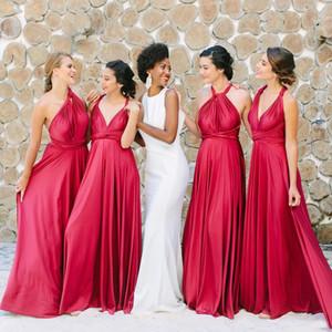 Elegante raso convertibili lunghi abiti da sposa 2019 increspato A linea damigella d'onore abiti da sposa Giudizi promenade di sera di usura BM0929