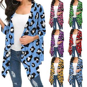 Leopard Print Womens magliette a maniche lunghe di colore solido delle donne di autunno allentato delle parti superiori delle signore di modo casuale Cardigan