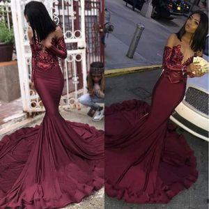 Maroon Borgonha Prom Dresses 2020 Mermaid Illusion Lantejoulas Lace Top Black Girls' Plus Size Pageant Evening Formal Festa Vestidos BC1250