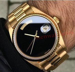 Mens-automatische Uhr 36MM TAG DATUM glatt Schwarz Gesicht Mechanics Herren-Uhren Saphir Original Gold 18K Edelstahl Verschluss gleitet