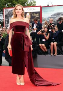 Abito Borgogna Guaina Abiti da sera fuori dalla spalla tea-lunghezza peplo Torna Vent partito convenzionale di promenade donne abiti tappeto rosso della celebrità