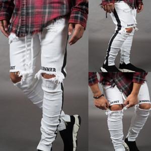 2020 New Fashion Mens Jeans Street Black Holes Designer White Stripes Jeans Hiphop Skateboard Pencil Pants 56529