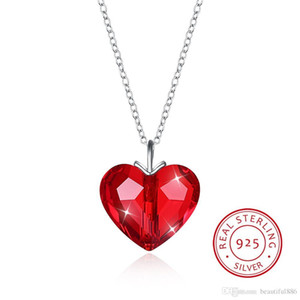 Crystals From Swarovski Element Jewelry Collana con cuore pendente Simple Collari trendy S925 Sterling Silver Fine Jewelry For Lover Girls Gift