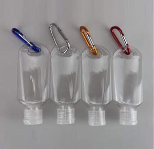 Kanca Taşınabilir Seyahat Şişeleri Boş sıkın Konteynerleri Ayaklı Cap Rastgele Renk Kanca CCA12059 ile Seyahat Plastik Şeffaf Anahtarlık Şişeler