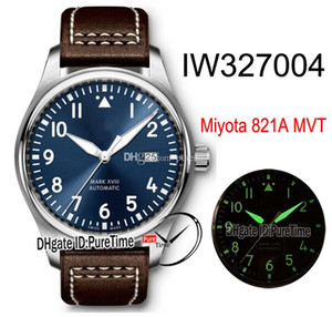 Nuovo Mark XVIII Petit Prince Miyota 821A Automatic Watch Mens IW327004 cassa in acciaio Quadrante Blu Numero Bianco Marcatori Brown Leathe Puretime E154a1