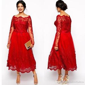 2019 A-line Gelinlik Modelleri Tam Dantel Uzun Kollu Akşam Örgün Parti Kıyafeti Çay Uzunlukta Pageant Elbise Custom Made BC1577