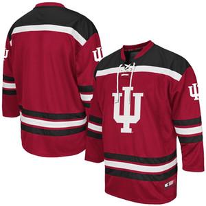 사용자 정의 남자 콜로세움 Crimson Indiana Hoosiers Hockey 유니폼 바느질 모든 이름 Hight 품질 크기 S-3XL