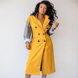 Çift Breasted Kış Kadın Designer ile panelli Karışımları Casual Bayan Yaka Boyun Dış Giyim Moda Bayan Uzun Ceket